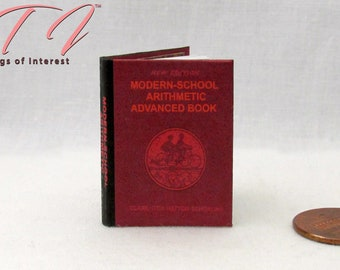 ARITHMETIC MATH TEXTBOOK 1:6 Scale Readable Dollhouse Miniatures Book Playscale