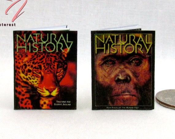2 NATURAL HISTORY Magazine Dollhouse Miniature 1:12 Scale *2 FOR 1* Animals Wildlife Foreign Lands People