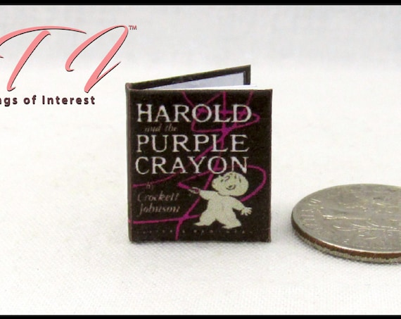 HAROLD And The PURPLE CRAYON Miniature Book Dollhouse 1:12 Scale Illustrated Book Children's Book Crockett Johnson Curious Boy