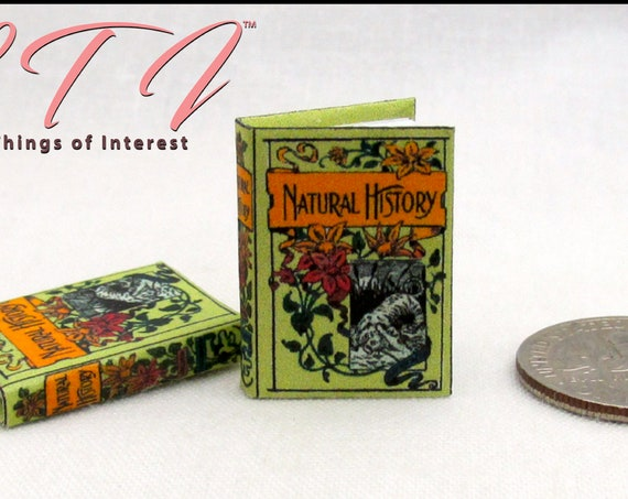 "ILLUSTRATED NATURAL HISTORY Miniature Dollhouse Book 1:12 Scale Readable Illustrated Book 1"" Scale Animals Bugs Natural History"