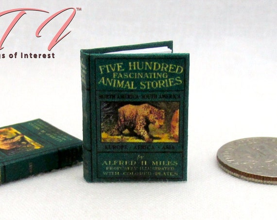 FIVE HUNDRED ANIMAL Stories Illustrated Miniature Dollhouse Book 1:12 Scale Readable Illustrated Book Children's Book Natural History