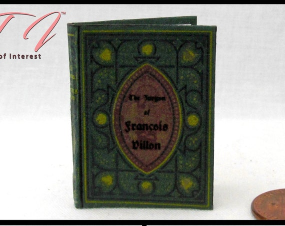 FRENCH POETRY Poems of Francois Villon Miniature Book 1:6 Scale Doll Book Barbie Scale, 12 Inch Doll Book Barbie Monster High Fashion Dolls