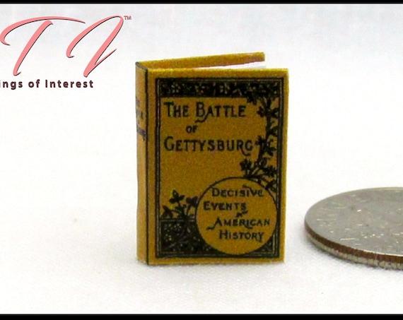 "BATTLE Of GETTYSBURG Dollhouse Miniature 1:12 Scale Readable Illustrated Book 1"" Scale Book 1863 Union Confederate American Civil War"