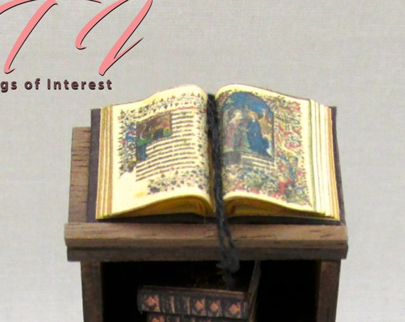 "1:24 Scale Open Book MEDIEVAL BOOK Of HOURS Dollhouse Miniature Book 1/2"" Scale Church Prayer Religion"