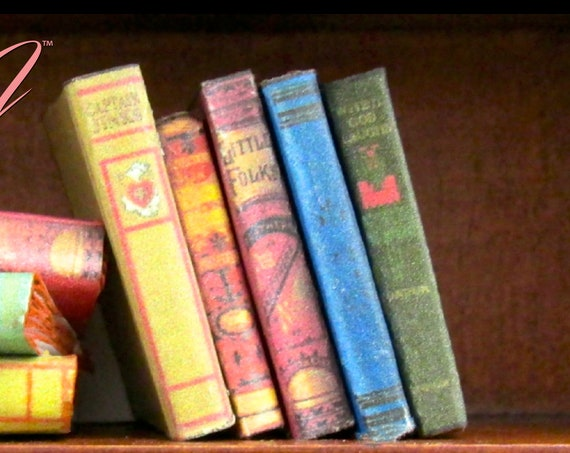"5 VINTAGE BOOKS Miniature Book Dollhouse 1:12 Scale 1"" Scale Book Fill a Bookcase Library Old Prop Books Faux Books"