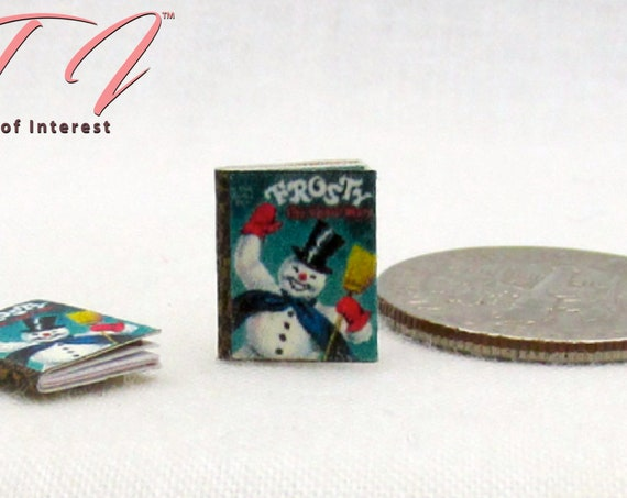 "1:24 Scale FROSTY THE SNOWMAN Dollhouse Miniatures Book 1/2"" Scale He Had To Hurry On His Way Magic Hat"