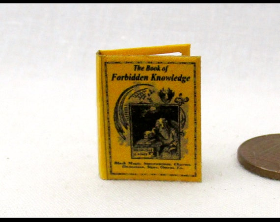 BOOK of FORBIDDEN KNOWLEDGE Miniature Book Dollhouse 1:12 Scale Illustrated Readable Book Wizard Witch Fortune Teller Gypsy Potter Magic