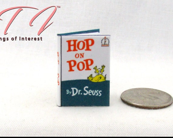 """HOP ON POP Miniature Book Dollhouse 1:12 Scale Illustrated Readable Book 1"""" Book Scale Dr. Seuss Dolls House Scale Children's Story"""