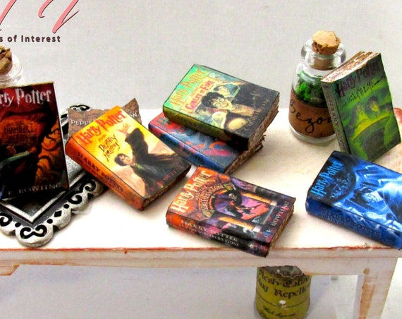 1:12 Scale Popular BOY WIZARD Book Series Miniature Book Set 7 PROP Books Faux Magic Witch Fortune Teller Gypsy Potter Real Paper Pages