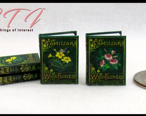 FAMILIAR WILD FLOWERS Book Set of 2 Illustrated Readable Miniature Dollhouse Books 1:12 Scale Books Vintage Book 1878 Botany Nature