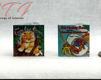 The Little Lost Kitten and Birthday Bear Children's Book Set of 2 Books in Miniatures 1:12 Scale