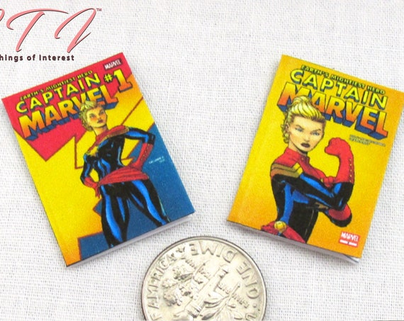 "2 CAPTAIN MARVEL COMIC Books Miniature Readable Dollhouse 1:12 Scale 1"" Movie Adventure Superhero Avengers Extraterrestrial Kree Warrior"