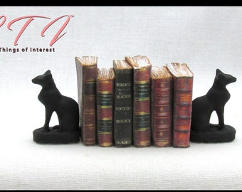 BLACK CAT Miniature Bookends Set of 2 Miniature 1:12 Scale Decor Bookends