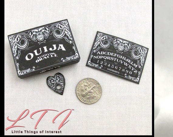 Dollhouse Doll OUIJA BOARD Black - Box and Planchette Printable Tutorial Miniature 1:12th Scale DIY Download Gypsy Tarot Magic Seance