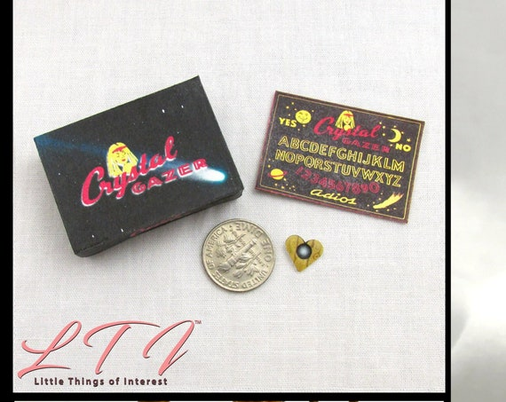 Dollhouse Doll OUIJA BOARD Crystal Gazer - Box & Planchette Printable Tutorial Miniature 1:12th Scale DIY Download Gypsy Tarot Magic Seance