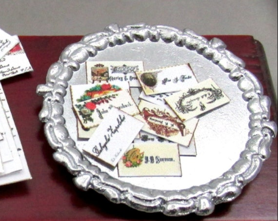 """VICTORIAN CALLING CARDS Miniature Dollhouse 1:12 Scale 1"""" Scale Social Etiquette Rules Visiting"""