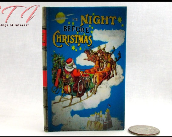 The NIGHT Before CHRISTMAS Illustrated Book in 1:3 Scale Readable Book American Girl Doll 18 inch AG Doll Scale Santa Reindeer Children'