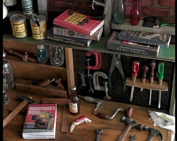 7 HOME IMPROVEMENT Miniature Books Dollhouse 1:12 Scale PROP Faux Books Real Paper Pages Electrical Carpentry Plumbing Heating Hand Tools