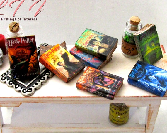 7 Popular BOY WIZARD Book Series 1:12 Scale Miniature Book Set PROP Faux Magic Witch Fortune Teller Gypsy Potter Real Paper Pages