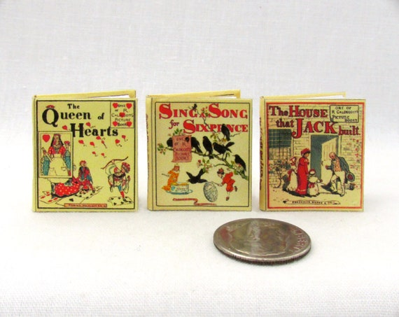 THREE CHILDREN'S PICTURE Miniature Books Dollhouse1:12 Scale Books House That Jack Built Queen of Hearts Sing Song Sixpence