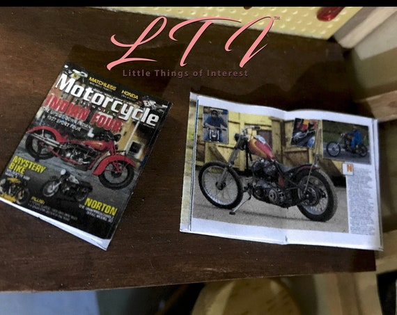 2 Miniature MOTORCYCLE MAGAZINES Dollhouse 1:12 Scale *2 FOR 1* Periodical Journal Shop Garage Bike Tools 1/12 - 12th American Iron