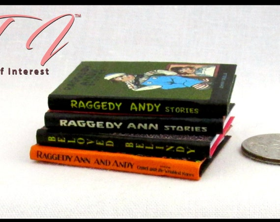 1:6 Scale RAGGEDY BOOKS Set of 4 Books Readable Illustrated Raggedy Anne, Raggedy Andy, Camel with Wrinkled Knees Belindy #Barbiediorama