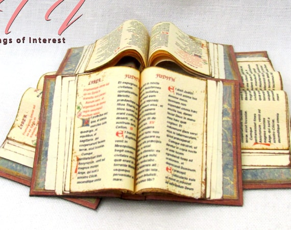 Open Book VINTAGE HOLY BIBLE Miniature Book Dollhouse 1:12 Scale Prayers Sacred Texts Scripture Religion Psalm Christians God Inspiration