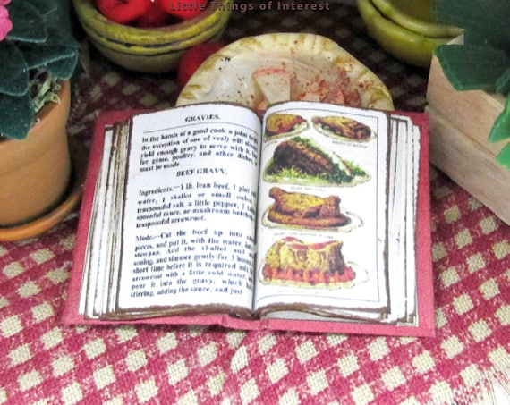 Open Book MRS BEETON'S COOKERY Cookbook #1 Miniature Dollhouse 1:12 Scale Book Meat Gravy Food Kitchen Cook Bake Dinner Tiny Food
