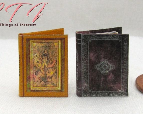 MAGIC SPELL Books Set 2 Books Dollhouse 1:12 Scale Illustrated Book Set spell book Wizard Witch Fortune Teller Potter Magic #miniaturebooks