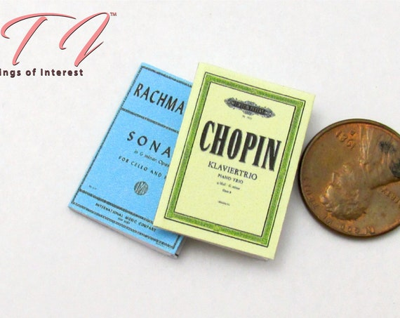 SHEET MUSIC SET (2) Miniature Book Set of 2 Dollhouse 1:12 Scale Books Chopin Rachmaninoff Classic Music