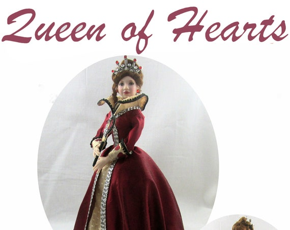 Dollhouse Doll QUEEN of HEARTS Doll Pattern Instructions PDF Miniature 1:12 Scale Instant Download diy Red Once Upon Time (Intermediate)
