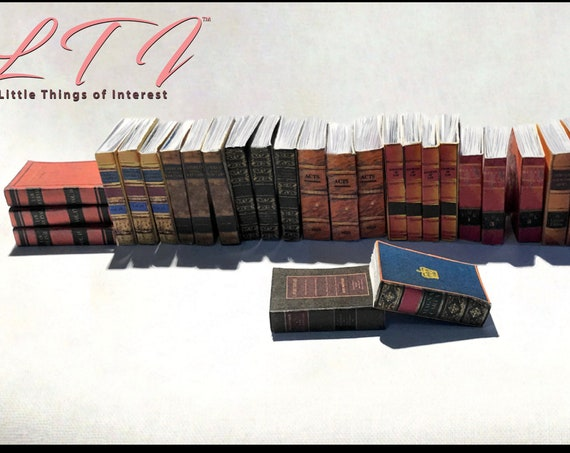 1:6 Scale LAW LIBRARY BOOKS Set of 30 Prop Books Miniature Book Play Scale Faux Books Monster High Fashion Dolls Blythe Pullip Barbie