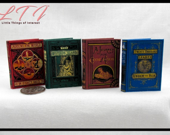 1:6 Scale JULES VERN BOOKS Set of 4 Books Readable Illustrated Books Journey Center Earth World Eighty Day Twenty Thousand Leagues Under Sea