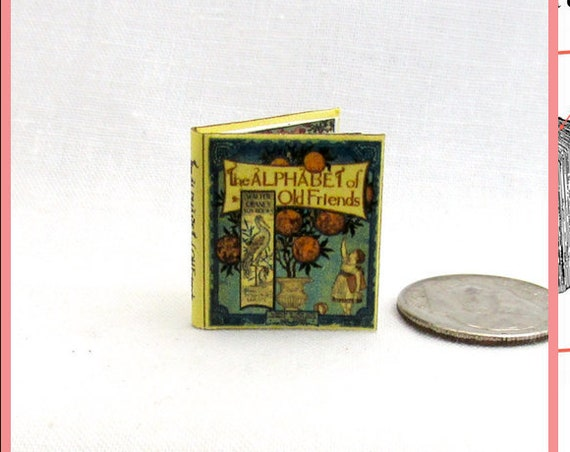 ALPHABET Of Old FRIENDS Dollhouse Miniature Book 1:12 Printable Download PDF Tutorial Instant Project