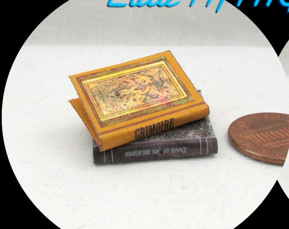 MAGIC SPELL Books Set 2 Books Dollhouse 1:12 Scale Illustrated Book Set witch wizard spell book Wizard Witch Fortune Teller Potter Magic