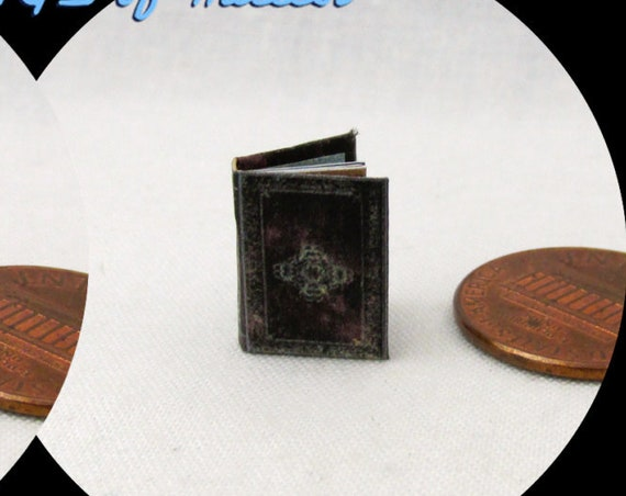 """1:24 Scale BOOK Of INCANTATIONS Miniature Book Dollhouse Illustrated Book Potter Magic Wizard Witch Boy Wizard 1/2"""" Scale"""
