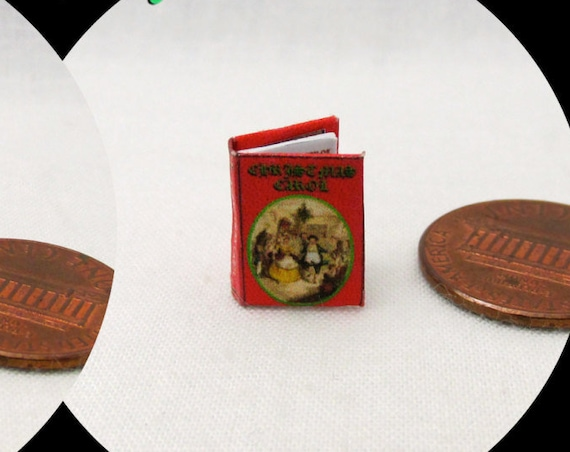 "1:24 Scale Book A CHRISTMAS Carol Miniature Book Dollhouse Illustrated Book 1/2"" Scale Lyric Noel Celebration Holiday Christ Born"