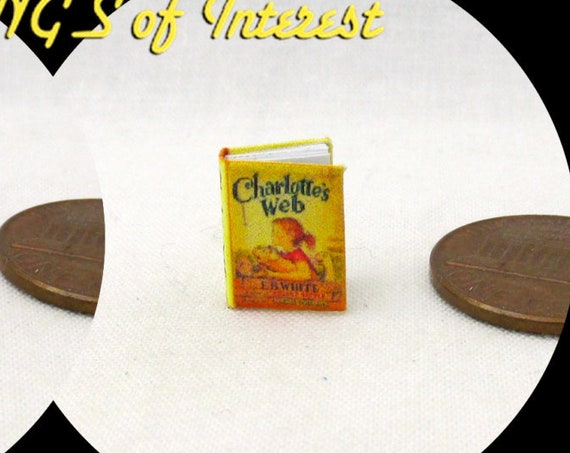 "1:24 Scale Book CHARLOTTE'S WEB Miniature Book Dollhouse Color Illustrated 1/2"" Scale"