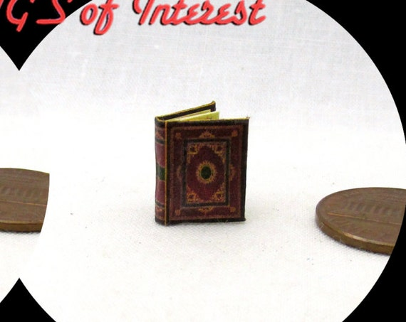 "1:24 Scale MEDIEVAL BOOK Of HOURS Miniature Book Dollhouse Illustrated Book 1/2"" Scale Sacred Religion Psalm Christians God Inspiration"