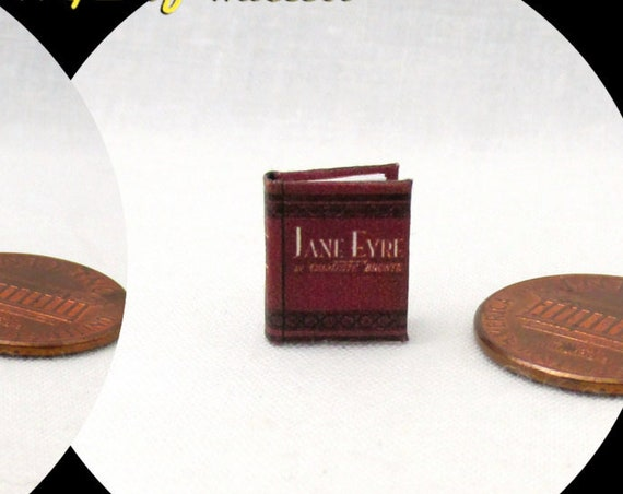 "1:24 Scale Book JANE Eyre Miniature Book Dollhouse Illustrated Book Half Inch Scale 1/2"" Scale"