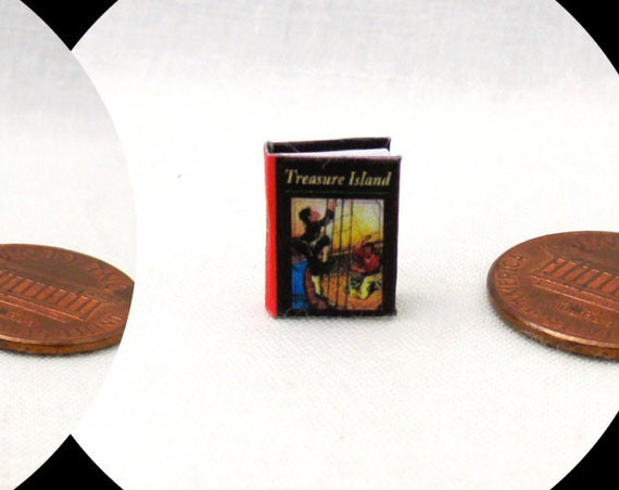 "1:24 Scale TREASURE ISLAND Miniature Book Dollhouse Color Illustrated Book 1/2"" Scale"