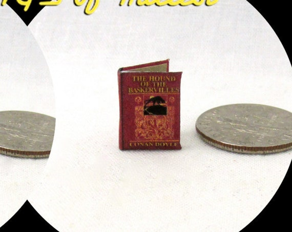"1:24 Scale Book THE HOUND Of The BASKERVILLES Sherlock Holmes Dollhouse Miniature 1/2"" Scale Detective Arthur Conan Doyle Victorian"