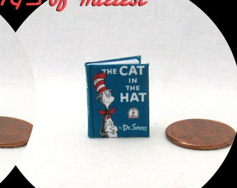 THE CAT In The HAT Miniature Book Color Illustrated Dollhouse 1:12 Scale Dr. Seuss Children Look at me! Thing One Two He should not be here