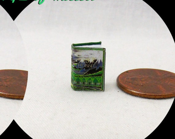 "1:24 Scale THE HOBBIT Miniature Book Dollhouse 1/2"" Scale Color Illustrated Book There Back Again J. R. R. Tolkien Lord of Rings"