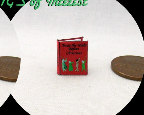 1:24 Scale Book TWAS The NIGHT BEFORE Christmas Illustrated Miniature Book Santa Birth of Jesus Christ Noel Christ Born Advent Nativity 1/2""