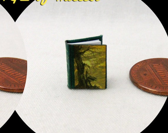 "1:24 Scale WUTHERING HEIGHTS Miniature Book Dollhouse Book 1/2"" Scale Book 1845 Emily Brontë Heathcliff Classic Literature"