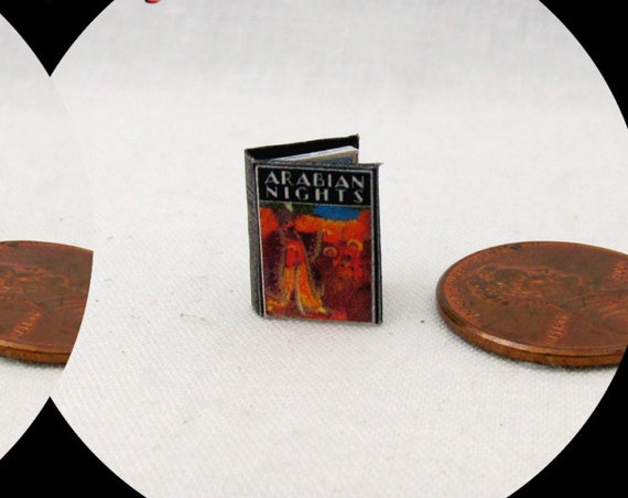 "1:24 Scale Book ARABIAN NIGHTS Miniature Book Dollhouse Illustrated Book Half Inch Scale Aladdin Genie 1/2"" Scale Magic"