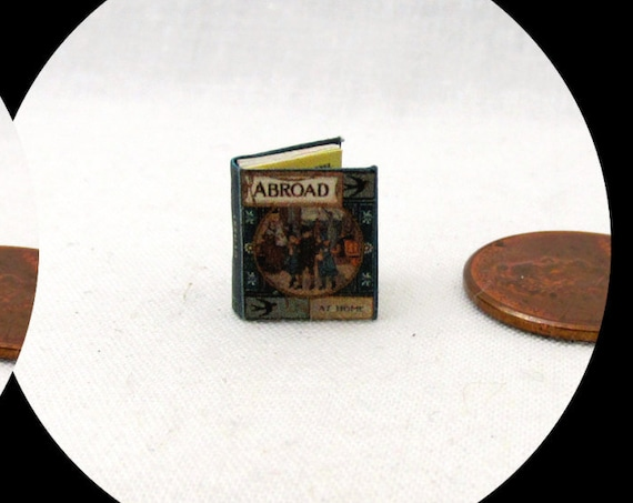 "1:24 Scale Book ABROAD Miniature Book Dollhouse Illustrated CHILDREN'S Book 1/2"" Scale"