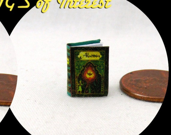 """1:24 Scale Book ALADDIN Miniature Book Dollhouse Illustrated Book 1/2"""" Half Inch Scale One Thousand and One Nights The Magic Lamp Disney"""