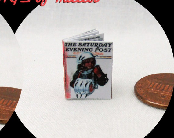 "1:24 Scale SATURDAY Evening Post Illustrated Miniature Book Dollhouse Color Illustrated Magazine 1/2"" Scale"